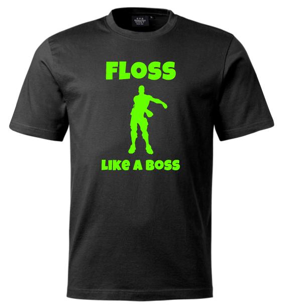 Svart T-shirt Floss Like A Boss Neongrön