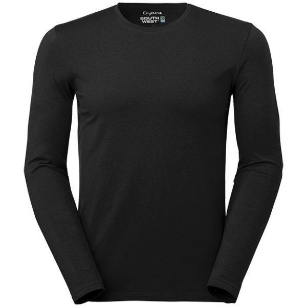 Svart Ekologisk Långärmad T-shirt Stretch