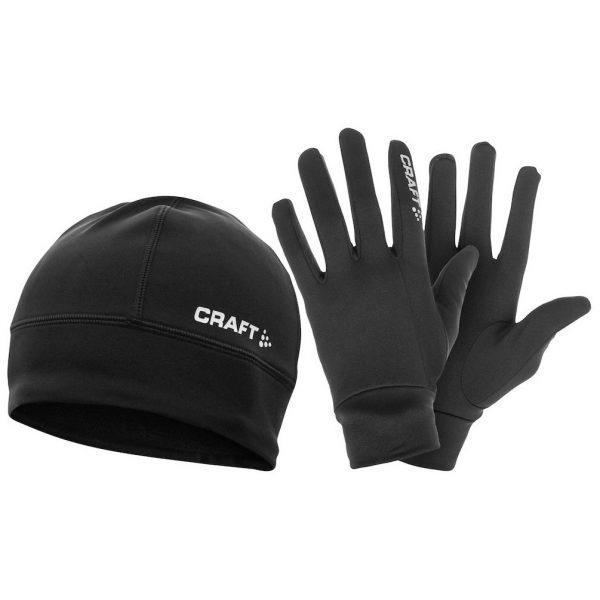 Svart Mössa och Handskar Löparset Craft