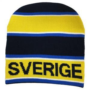 Marinblå/Gul Randig Mössa Sverige
