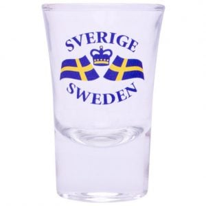 Blå/Gult Snapsglas Sverige Sweden