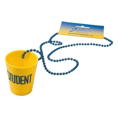 Gul/Blått Snapsglas Student Plast