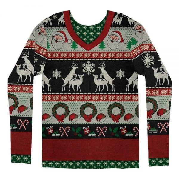 Röd/Vit/Svart Långärmad T-shirt Frisky Deer Jul