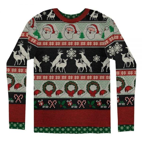 Röd/Vit/Svart Långärmad T-shirt Frisky Deer Jul Baksida