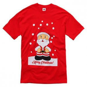 Röd T-shirt Jul Jultomte Merry Christmas