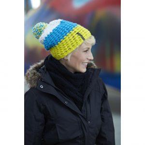 Gul/Blå/Vit Virkad Sverigemössa Exempel