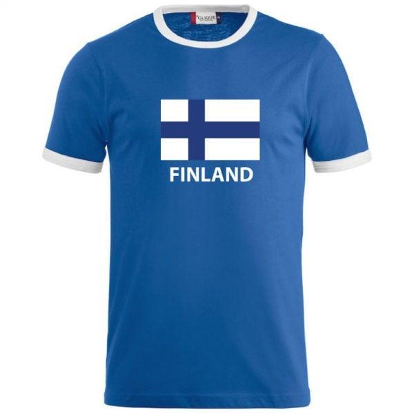 Blå/Vit T-shirt Finland Flagga