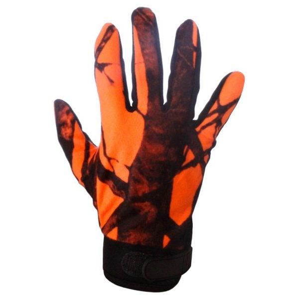 Orange/Svarta Jakthandskar med Fällbara Fingertoppar