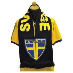 Marinblå/Gul Sverige Halsduk Exempel