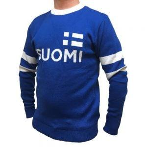 Blå/Vit Stickad Finlandströja Suomi Flagga Bröst