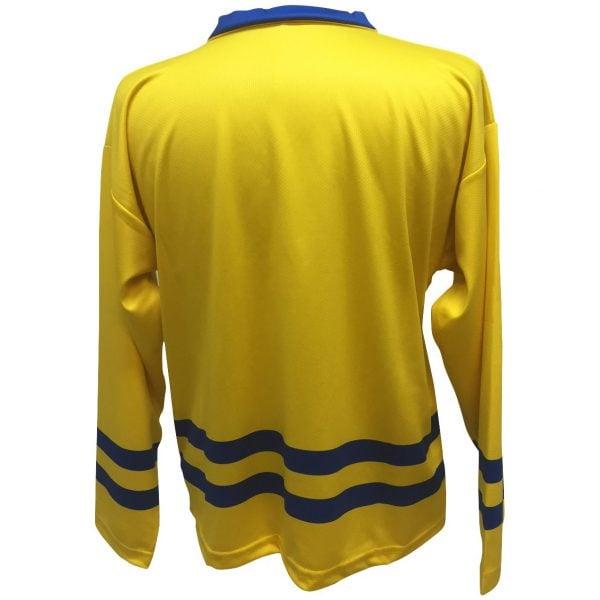 Gul/Blå Tre Kronor Sverige Hockeytröja Deluxe Baksida