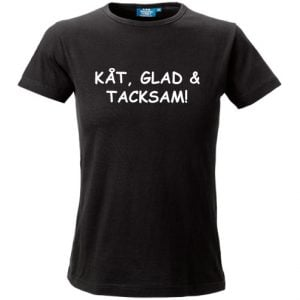 Svart T-shirt Kåt, Glad & Tacksam