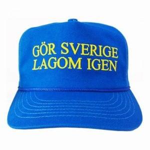 Blå/Gul Keps Gör Sverige Lagom Igen Framsida