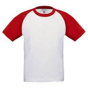 Vit/Röd T-shirt Raglan Baseball