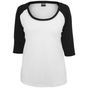 Vit/Svart T-shirt 3/4 Kontrastärm UC