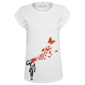 Vit T-shirt Banksy Butterfly