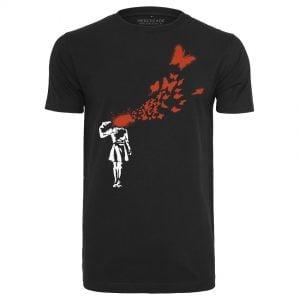 Svart T-shirt Banksy Butterfly