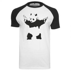 Vit/Svart T-shirt Banksy Panda Raglan