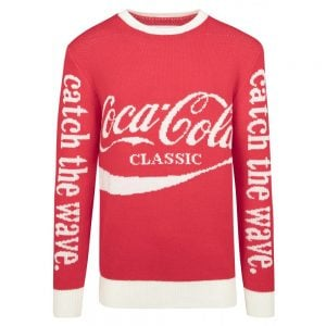 Röd/Vit Stickad Tröja Coca-Cola Wave