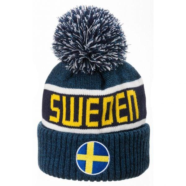 Marinblå/Vit/Gul Stickad Mössa Pom Pom Sweden