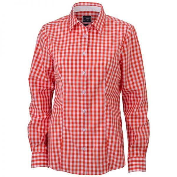 Orange/Vit Rutig Skjorta