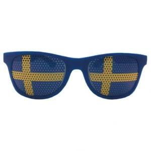 Blå/Gula Sverigeglasögon Wayfarer Framsida