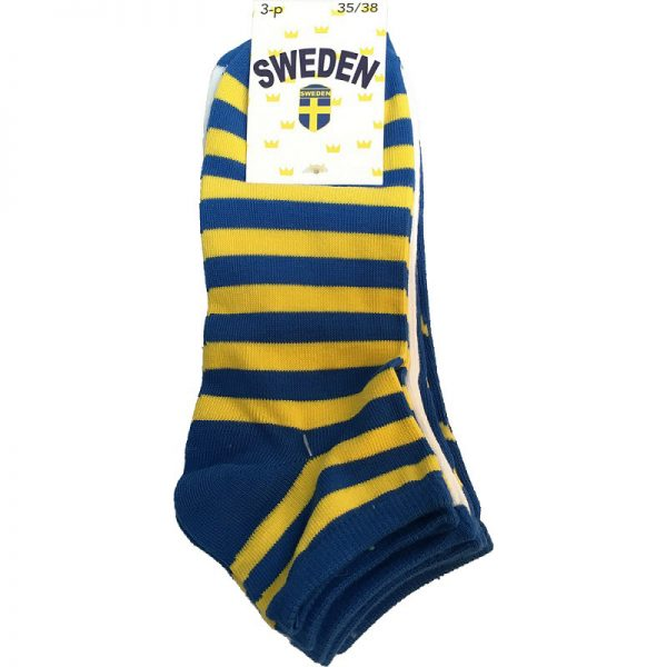 Blå/Gula Ankelstrumpor Sverige 3-Pack Paket