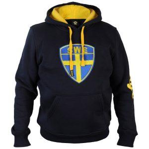 Blå/Gul Hoodtröja Sverige Broderad Sköld