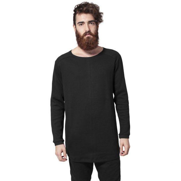 Svart Långärmad T-shirt Waffle Lång Modell UC