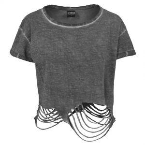 Mörkgrå Uppriven T-shirt Cropped UC
