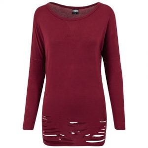 Vinröd Långärmad Uppriven T-shirt Viskos UC