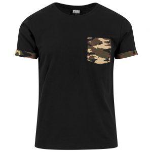 Svart/Brun T-shirt med Camo Bröstficka Kontrast UC