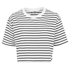 Vit/Svart Kort Randig T-shirt Oversized UC