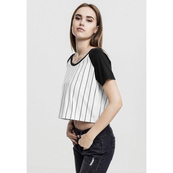 Vit/Svart T-shirt Crop Top Baseball Raglan UC