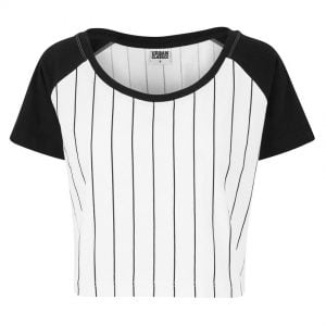 Vit/Svart T-shirt Crop Top Baseball Raglan UC