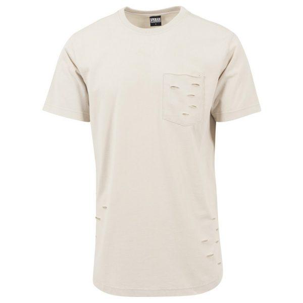 Beige Lång Uppriven T-shirt med Bröstficka UC