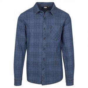 Mörkblå Jeansskjorta Rutig UC