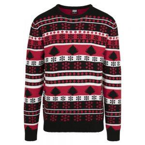 Svart/Röd/Vit Snowflake Stickad Jultröja UC