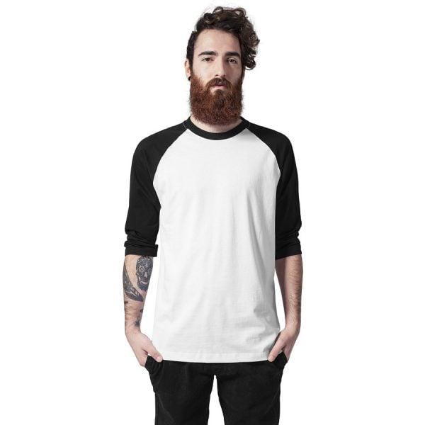 Vit/Svart T-shirt 3/4 Raglan Ärm UC