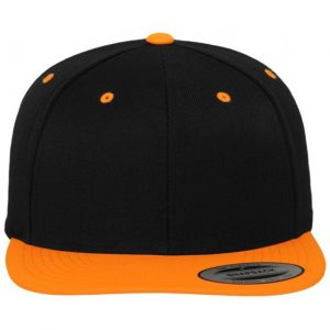 Svart/Orange Keps Klassisk Snapback Framsida