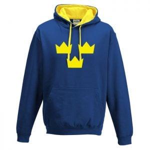 Blå/Gul Tre Kronor Hoodtröja
