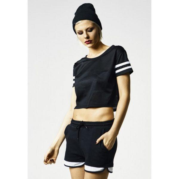 Svart/Vit Kort T-shirt Stripe Mesh UC