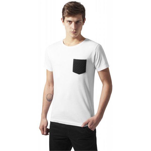 Vit T-shirt med Quiltad Bröstficka UC