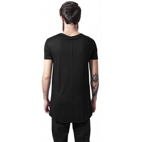 Svart Lång Asymmetrisk T-shirt Open Edge UC