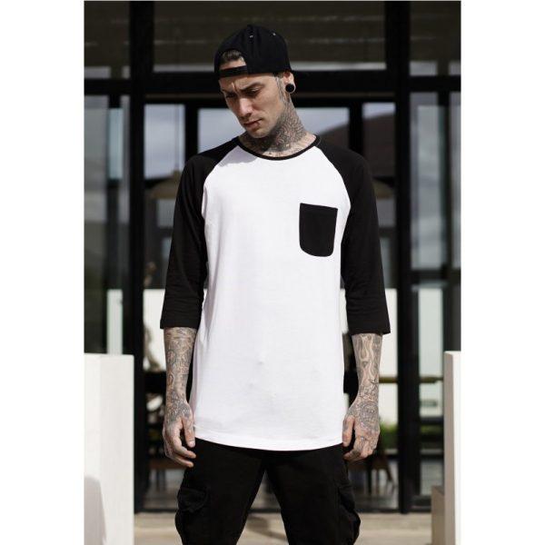 Vit/Svart T-shirt 3/4 Raglan Ärm med Ficka UC