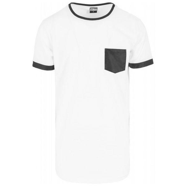 Vit/Svart Lång T-shirt med Läder Bröstficka UC