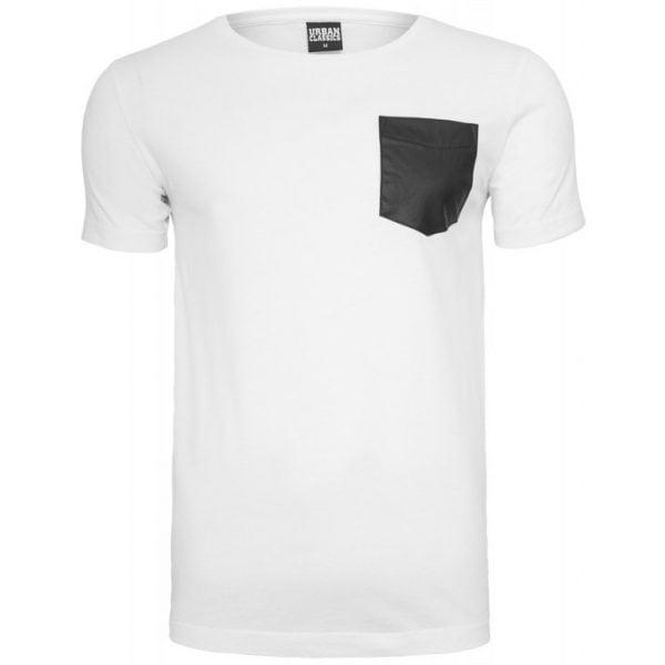 Vit T-shirt med Läder Bröstficka UC